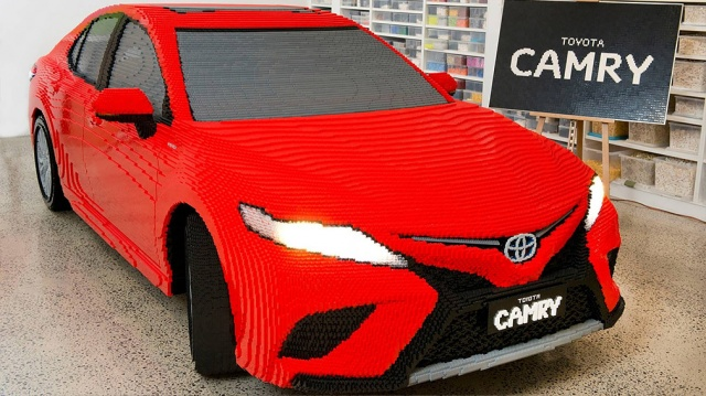In Australia shown a real Toyota Camry in the Lego design